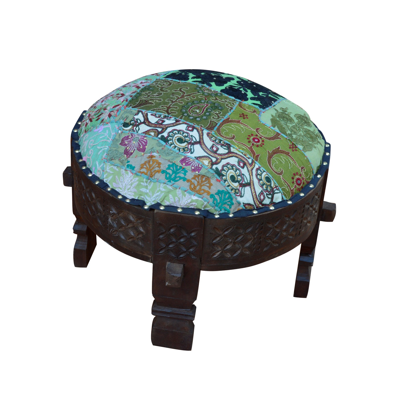 WOODEN CARVING ROUND STOOL WITH PROCESS