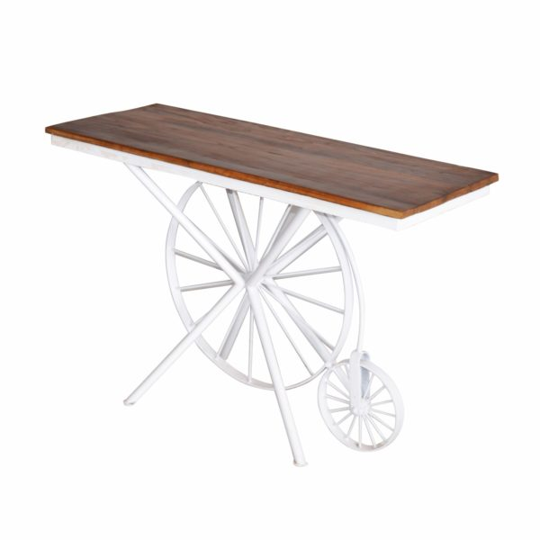 INDUSTRIAL CONSOLE TABLE TOP TEAK WOOD NATURAL FINISH