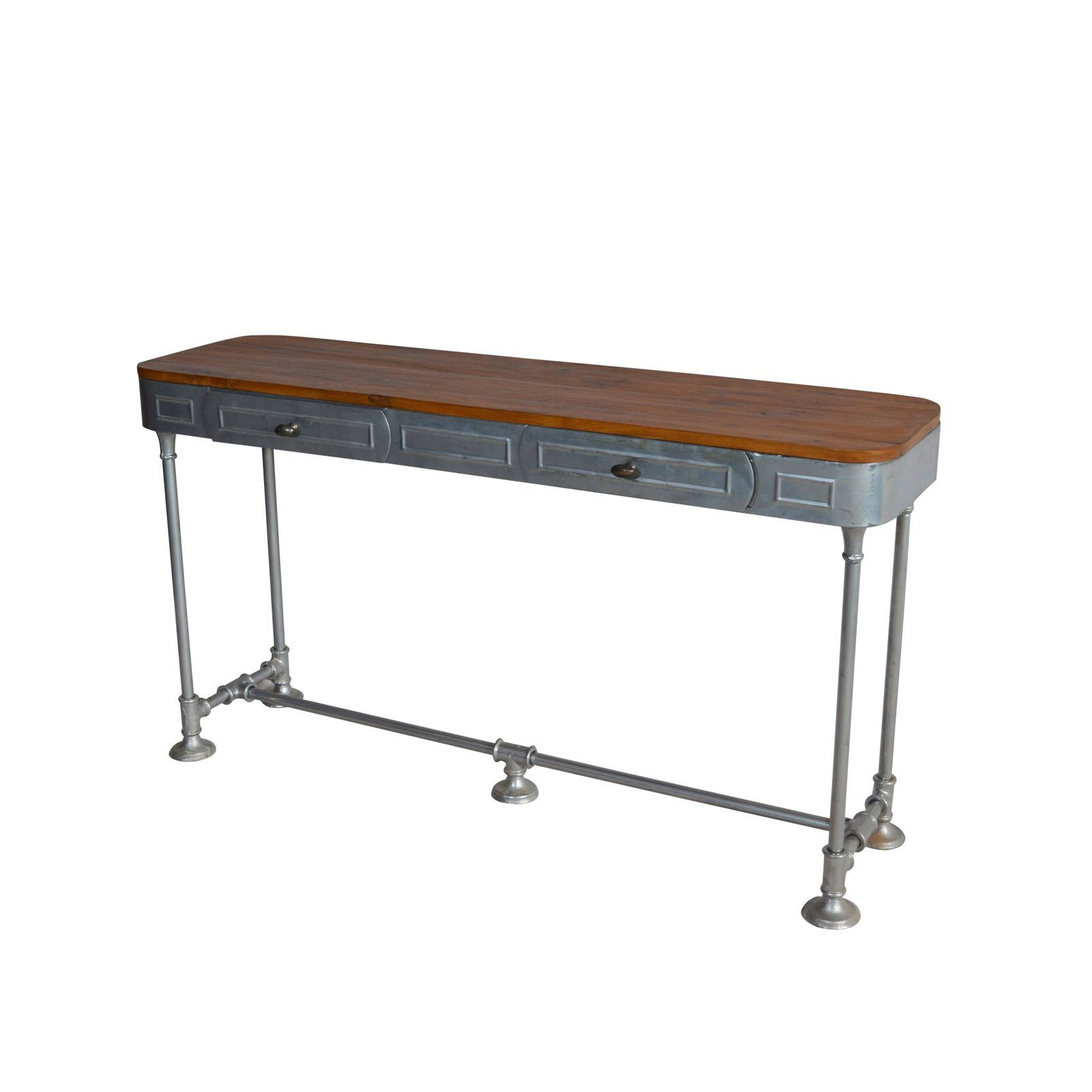 Industrial Console Table Two Drawer Teak Top Natural