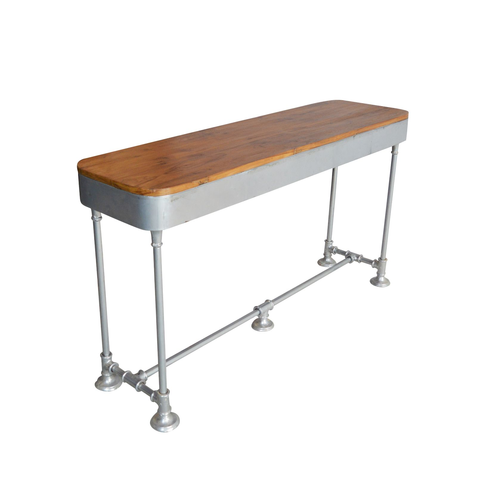 INDUSTRIAL CONSOLE TABLE TWO DRAWER TEAK TOP NATURAL FINISH