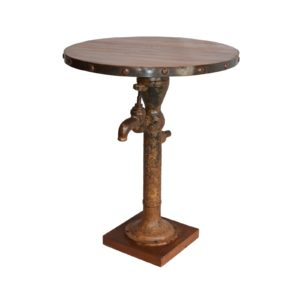 HAND PUMP ROUND TABLE RECLAIMED WOOD TOP