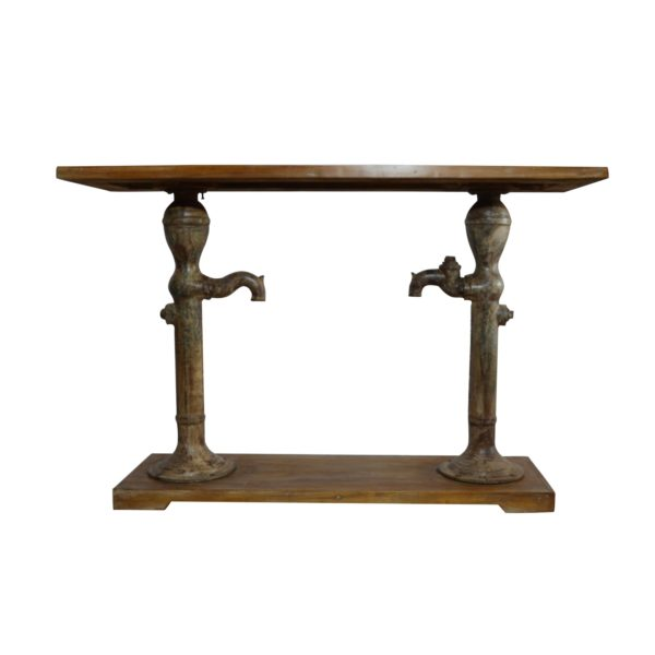 HAND PUMP CONSOLE TABLE RECLAIMED WOOD TOP
