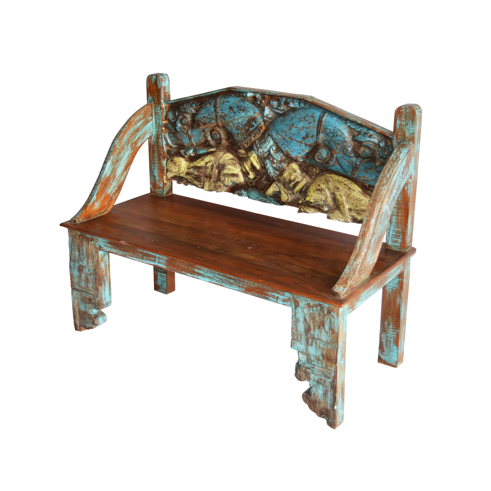 OLD TEAK WOOD CARVED BENCH