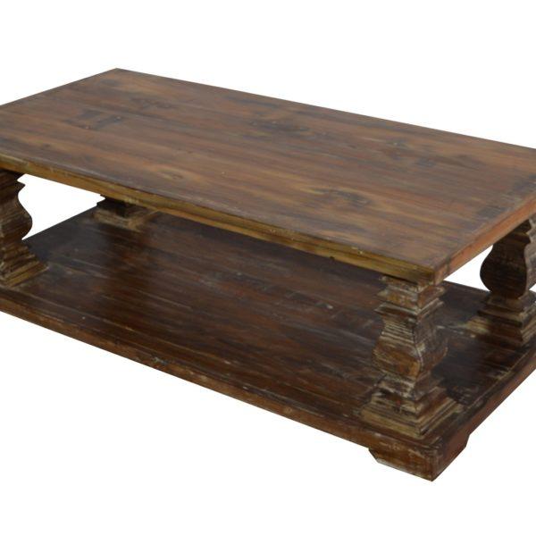 WOODEN COFFEE TABLE OLD TEAK WOOD TOP