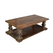 WOODEN COFFEE TABLE OLD TEAK WOOD TOP